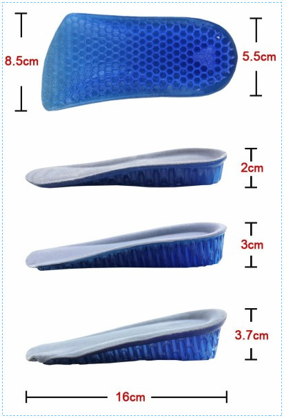Custom Gel Height Increase Insole for Shoes Massaging Gel Insoles